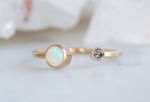 Open Cuff Diamond + Opal Ring