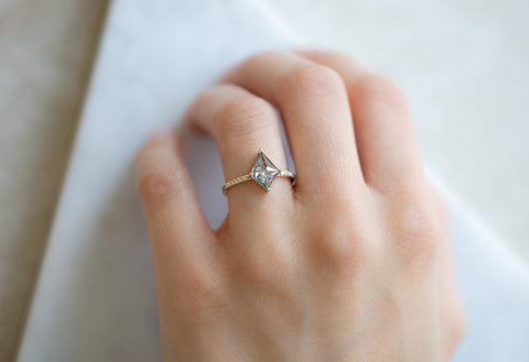 The Willow Ring with a Salt & Pepper Kite Diamond