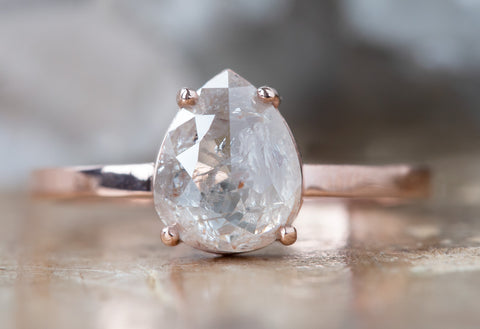 The Bryn Ring with an Pale Pink Pear-Shaped Diamond