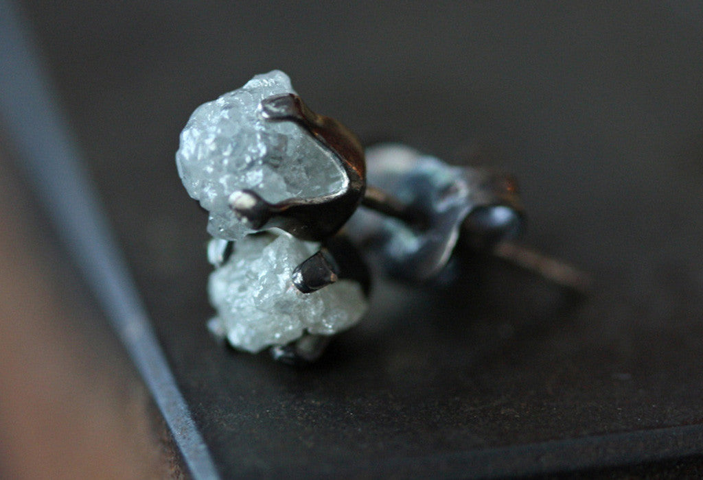 Oxidized Sterling Silver Rough Diamond Stud Earrings