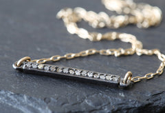 Pave Diamond Bar Necklace - Small