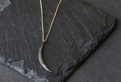 Pave Diamond Crescent Moon Necklace
