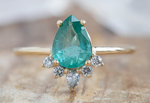 Pear-Cut Emerald Engagement Ring with Attached Sunburst