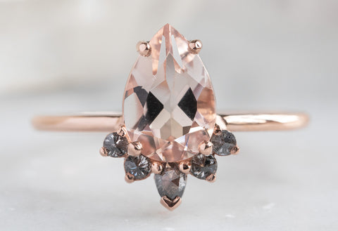 Pear Cut Morganite with Attached Sunburst