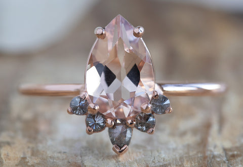 The Aster Ring with Morganite and Salt + Pepper Diamonds