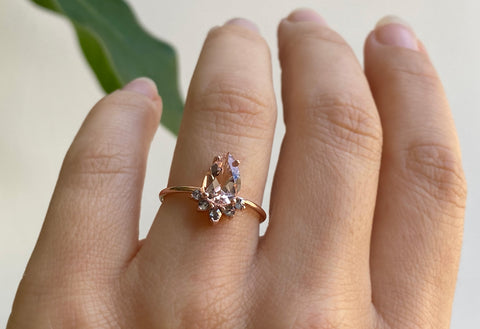 The Aster Ring with a Pear-Cut Morganite