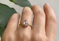 The Aster Ring with a Salt & Pepper Pear-Cut Diamond