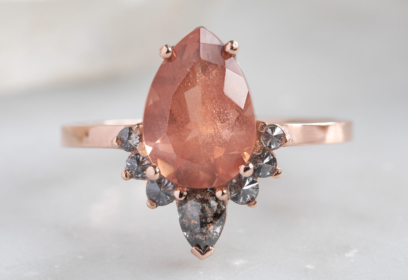 The Aster Ring with a Pear-Cut Sunstone