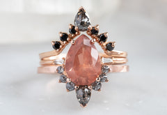 The Aster Ring with Sunstone and Salt + Pepper Diamonds