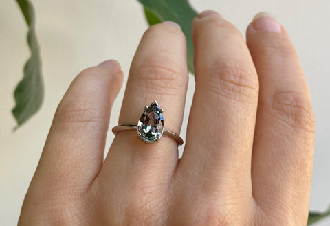 The Sage Ring with a Tanzanite Pear