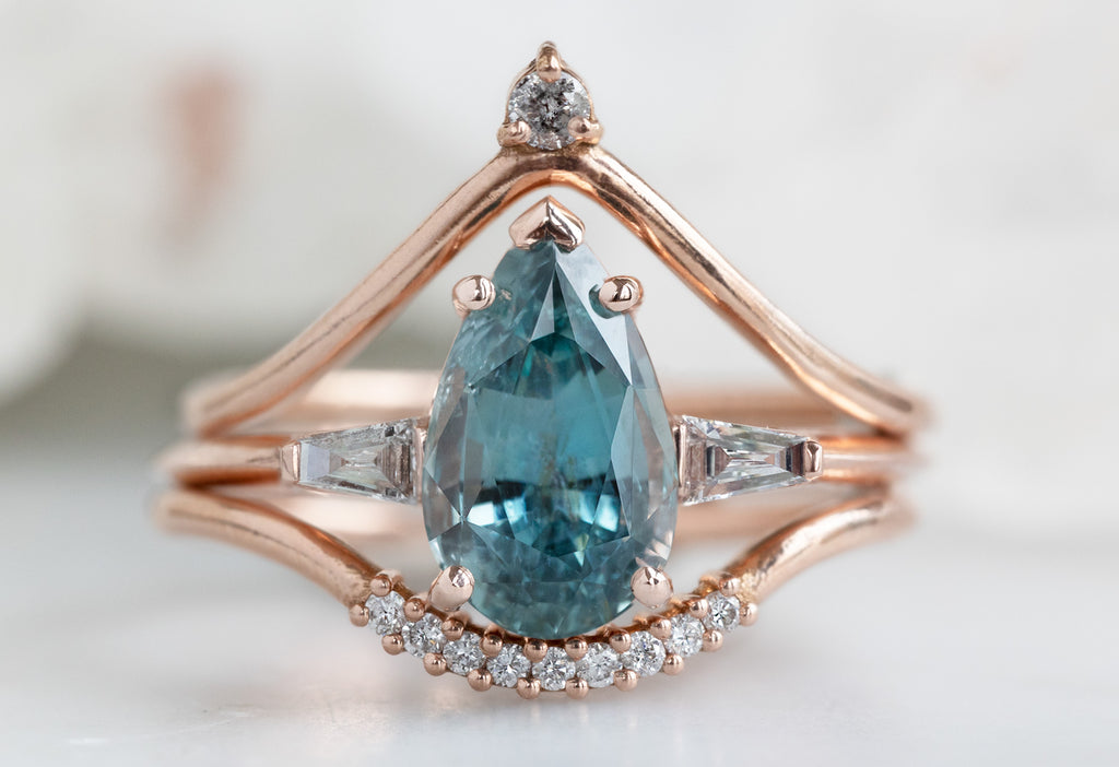 The Ash Ring with a Pear Cut Sapphire