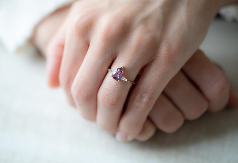 The Ash Ring with a Shield-Cut Pink Sapphire