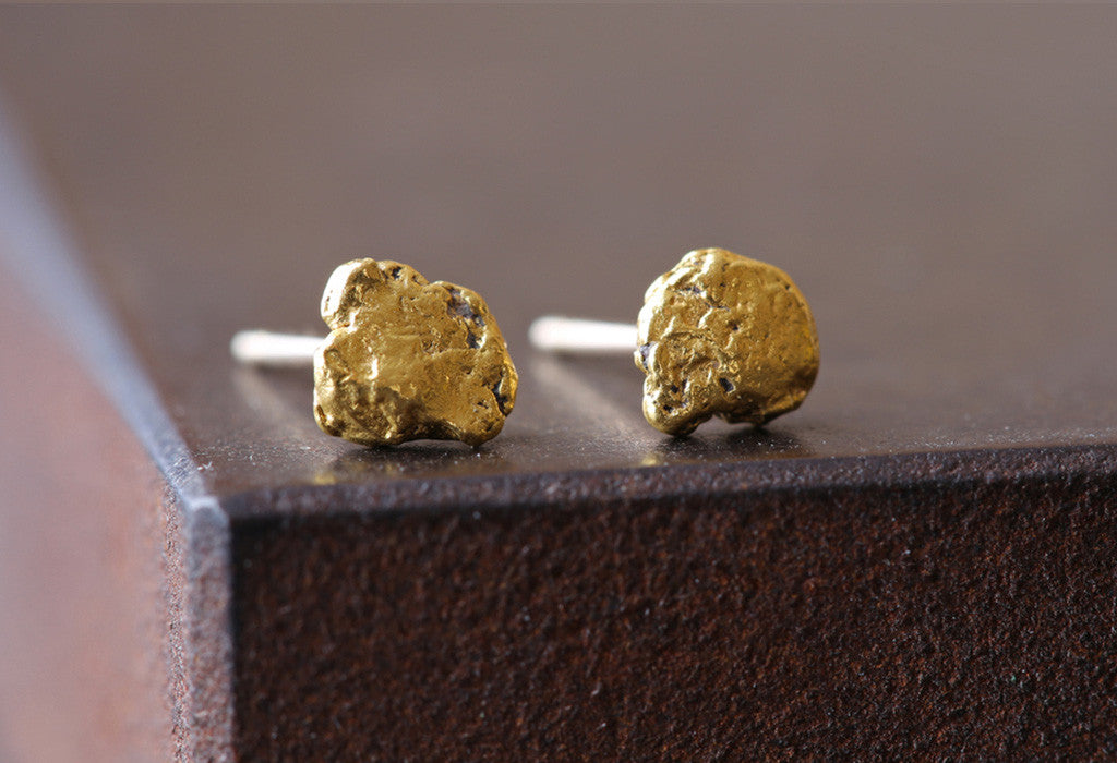Raw Gold Nugget Stud Earrings – Alexis Russell