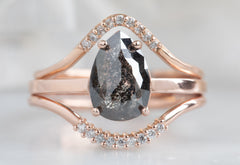 The Bryn Ring with a Black Pear-Shaped Diamond