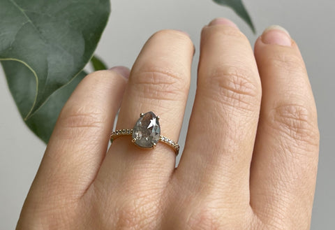 The Willow Ring with a Grey Rose-Cut Diamond