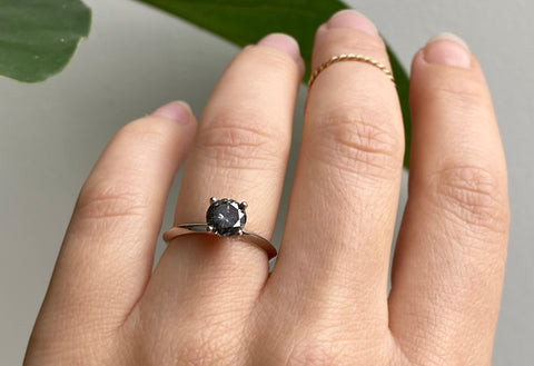 The Bryn Ring with a Black Round-Cut Diamond
