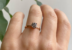 The Iris Ring with a Salt & Pepper Round Diamond