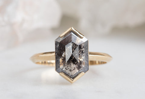 The Sage Ring with a Salt & Pepper Hexagon Diamond