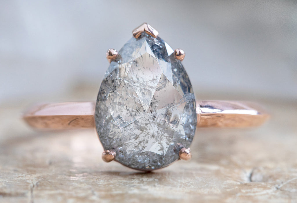 The Sage Ring with a Rose Cut Salt + Pepper Diamond