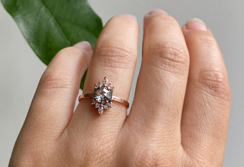 The Lotus Ring with a Salt & Pepper Hexagon Diamond