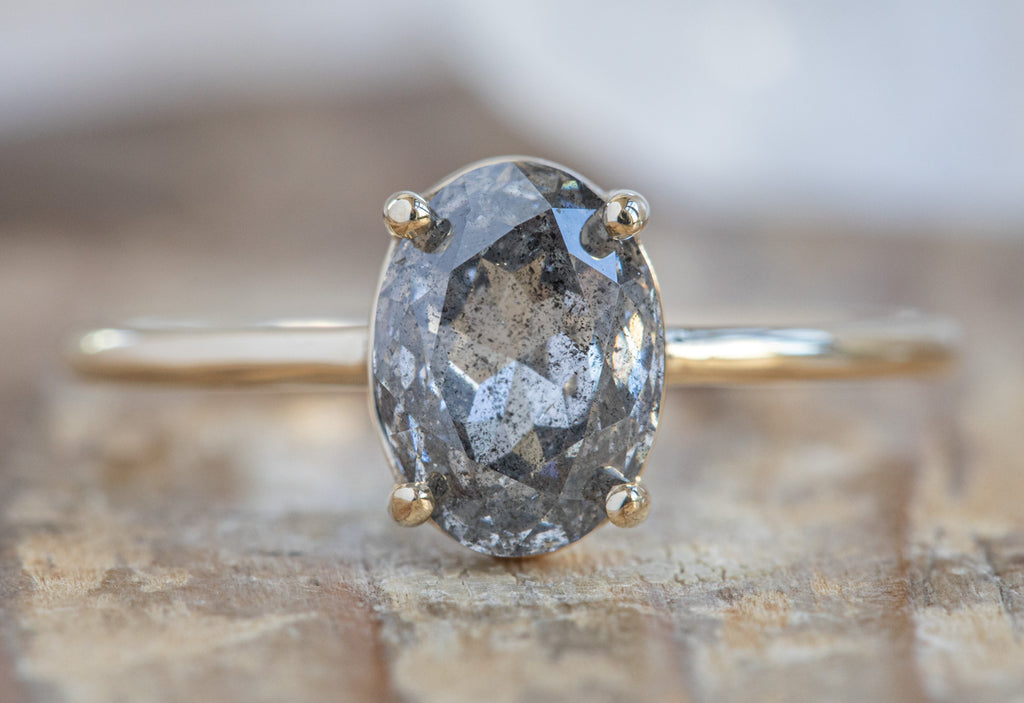 The Bryn Ring with an Oval Cut Salt + Pepper Diamond
