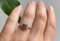 The Compass Ring with a Salt+Pepper Round-Cut Diamond