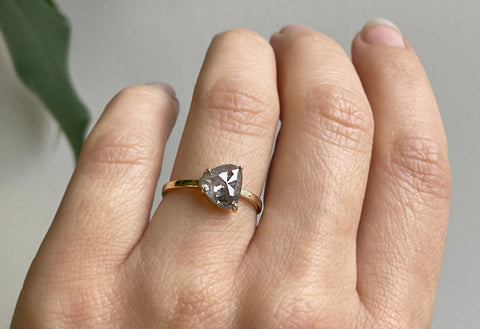 The Bryn Ring with a Grey Trillion Diamond