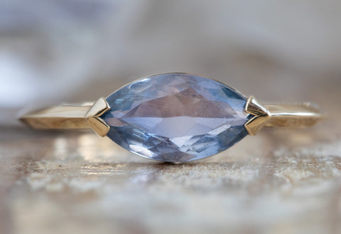 The Sage Ring with a Marquise Sapphire