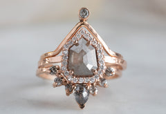 One of a Kind Geometric Rose Cut Grey Diamond Engagement Ring with Halo