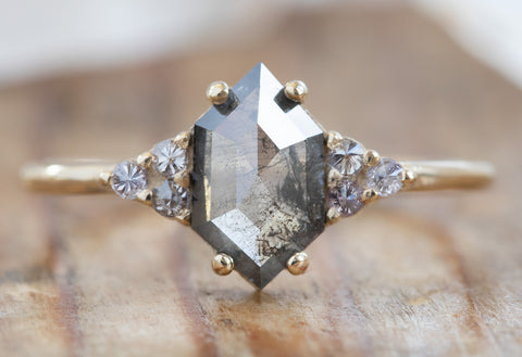 Seven Stone Salt + Pepper Hexagon Diamond Engagement Ring