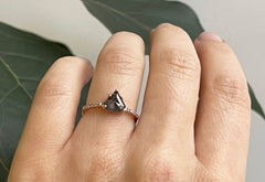 The Willow Ring with a Black Shield-Cut Diamond
