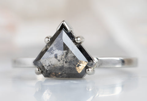 The Sage Ring with a Black Shield Cut Diamond