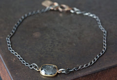 Simple Diamond Slice Bracelet in 18kt Gold and Sterling Silver