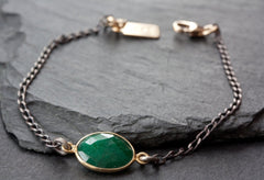 Simple Gemstone Bracelet - Mixed Metal