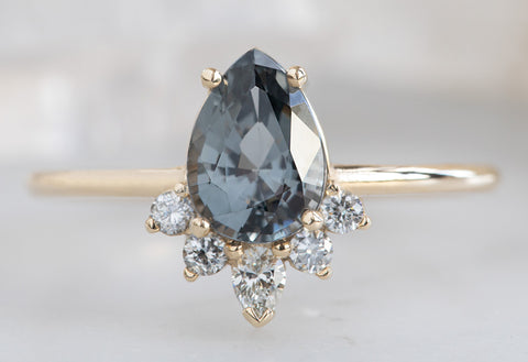 The Aster Ring with a Pear-Cut Grey Spinel