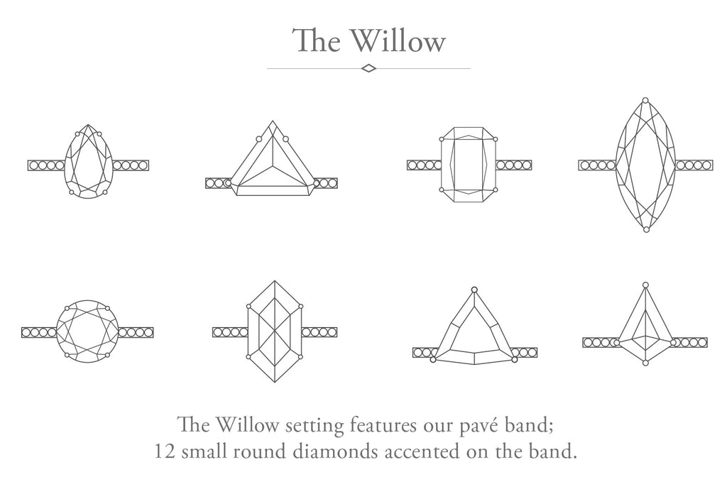 The Willow Ring with a Rose Cut Diamond