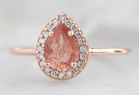 The Dahlia Ring with a Pear-Cut Sunstone