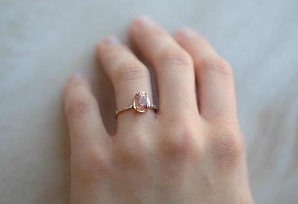 The Willow Ring with a Pear-Cut Sunstone
