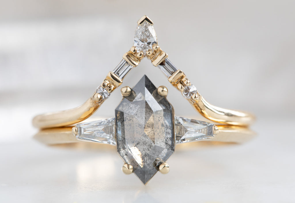 The Ash Ring with a Salt & Pepper Hexagon Diamond