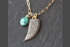 Pavé Diamond + Turquoise Horn Necklace