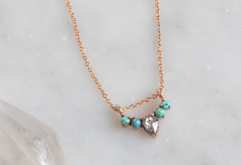 Turquoise + Diamond Sunburst Necklace