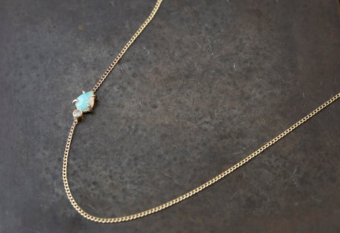 Asymmetrical Opal + Diamond Necklace