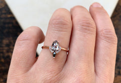 Rose Cut Salt + Pepper Diamond Engagement Ring with Half Halo + Black Diamond