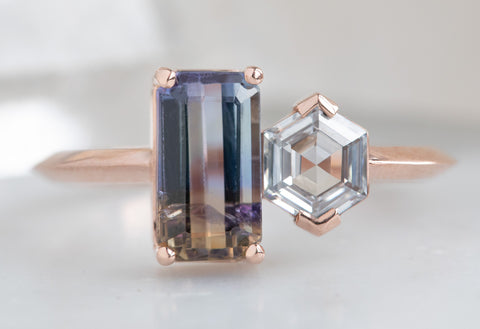 'You & Me' Ring with a Bi-Color Tanzanite + Hexagon Diamond