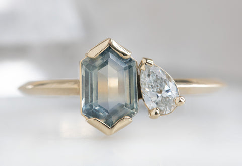 'You & Me' Ring with a Hexagon Montana Sapphire + Diamond