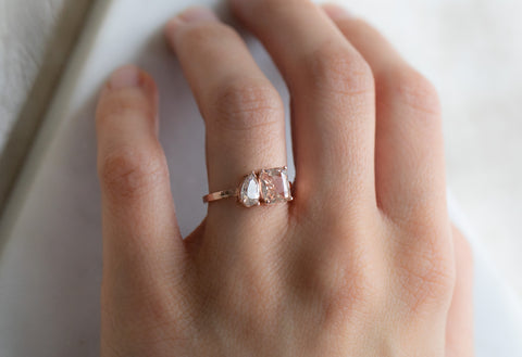 'You & Me' Ring with a Peach Sapphire + Pear-Cut Diamond