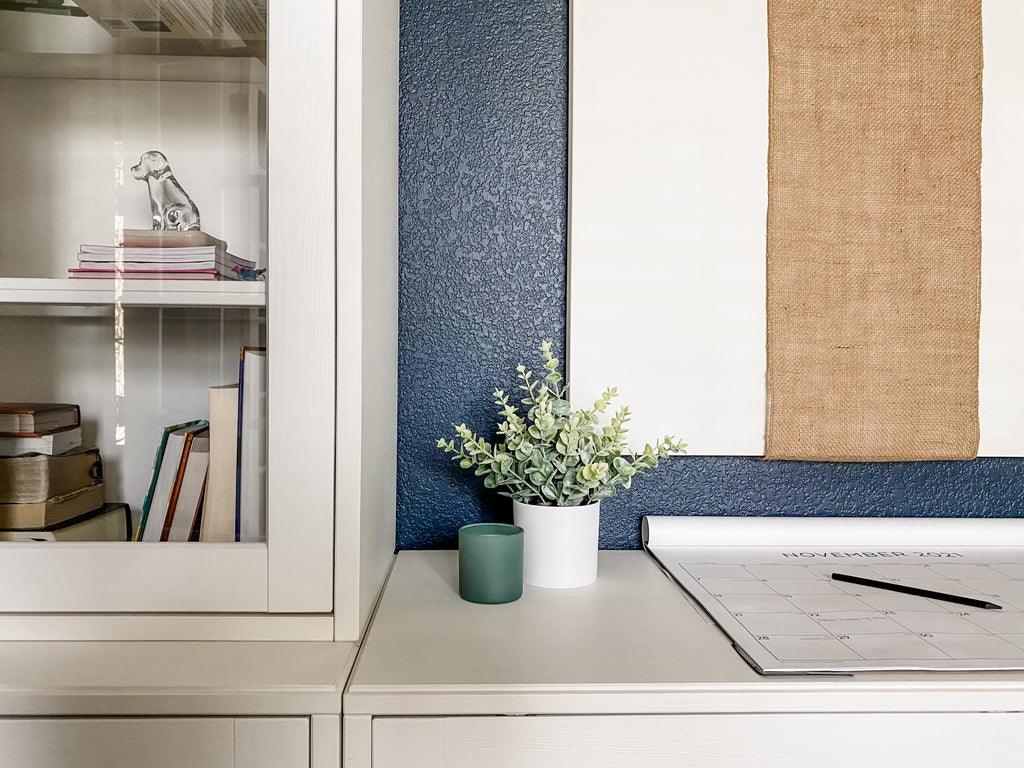 Image of House of Inverness Home Office, viewing a closeup of the wall unit decor.