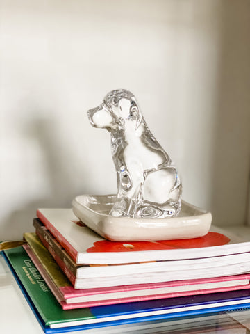 Image of House of Inverness Home Office, viewing a close-up of Simon Pearce glass labrador figurine.