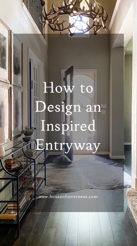 How to Design an Inspired Entryway text overlaid image of dark wood floor entryway with antler chandelier