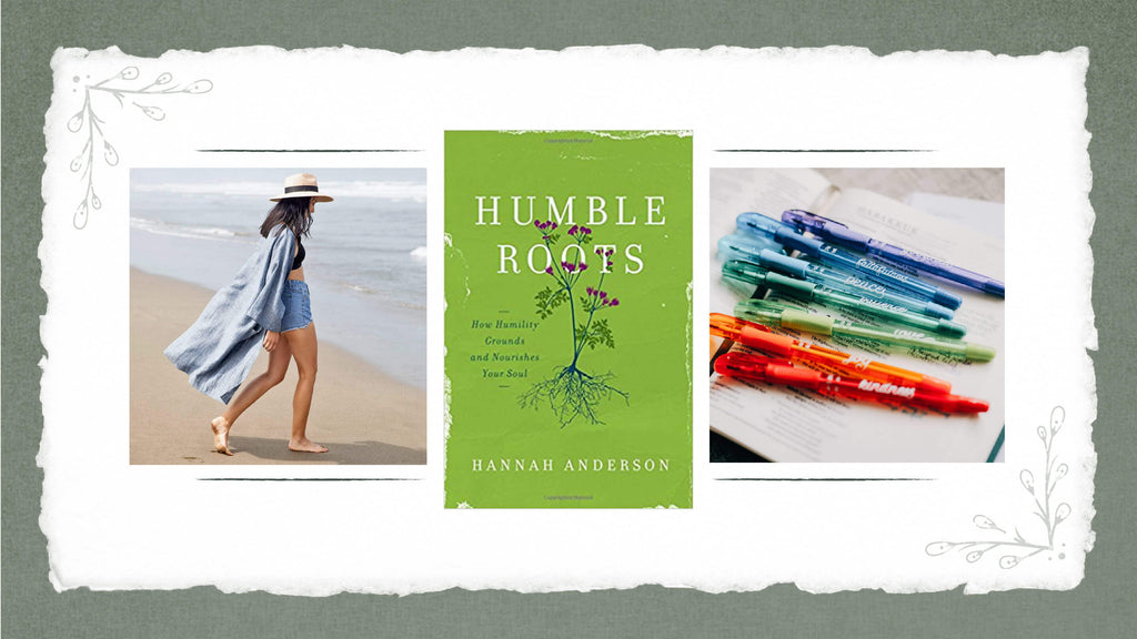 August Favorite Finds from House of Inverness, Rough Linen duster, Humble Roots book and pens from the Daily Grace Co